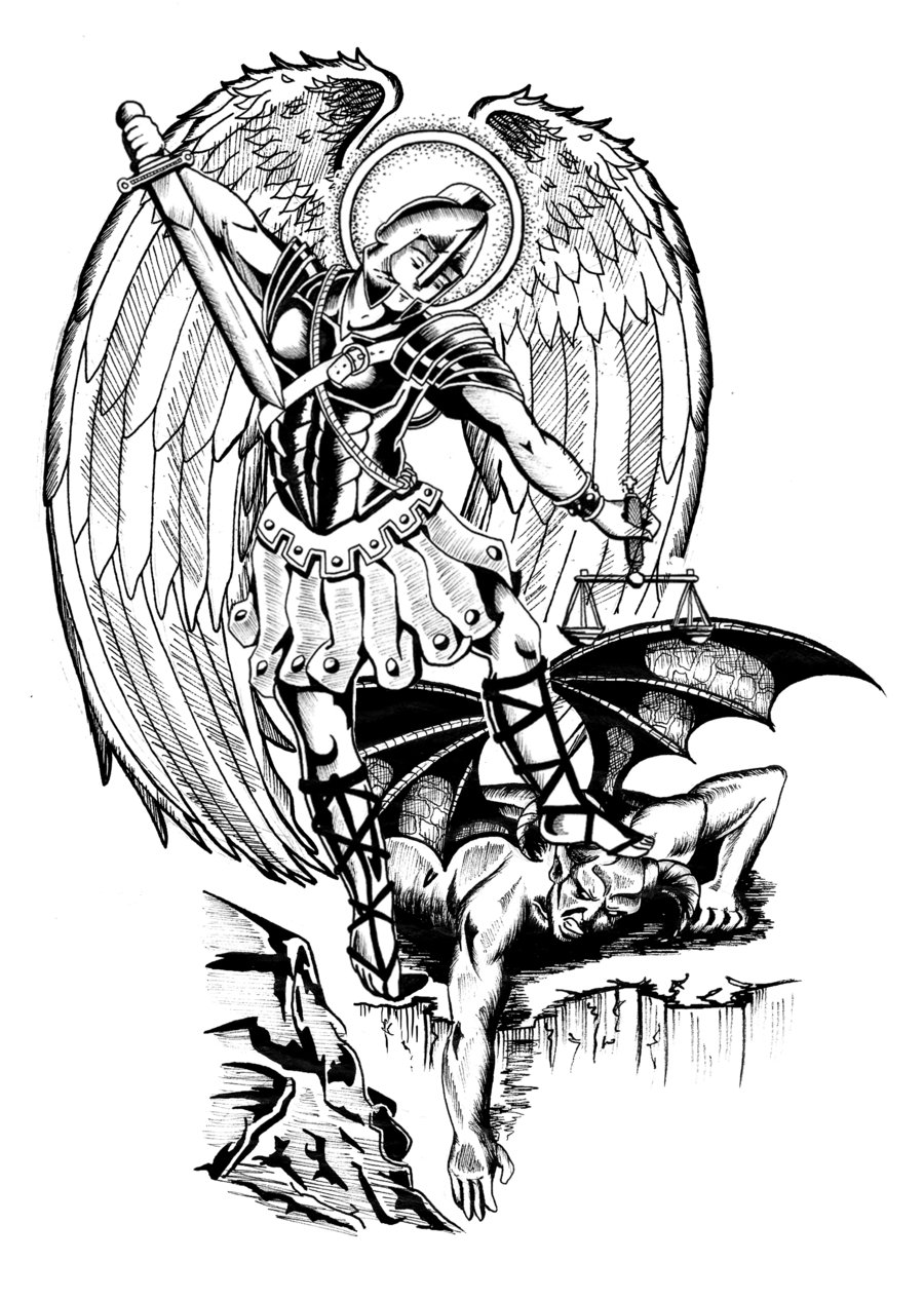 Tattoo phrase ru for Archangel michael coloring page